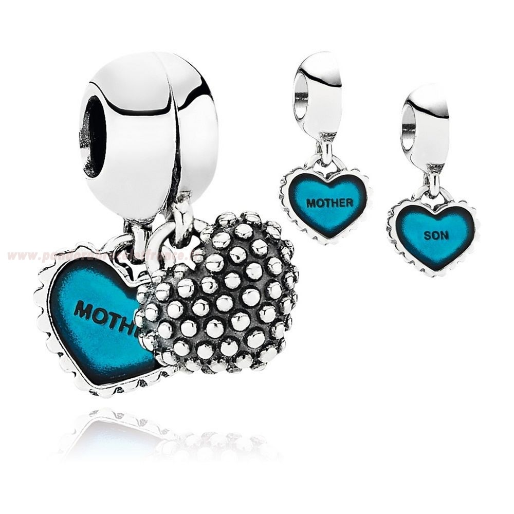 Revendeur Pandora Famille Piece Of Ma Heart Son Double Dangle Charm Turquoise Email Pas Cher