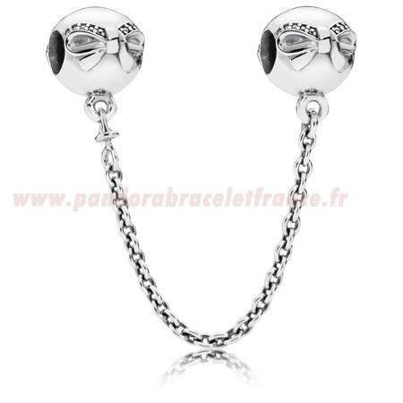 Revendeur Pandora Pandora Chaines De Securite Dainty Bow Safety Chain Clear Cz Pas Cher