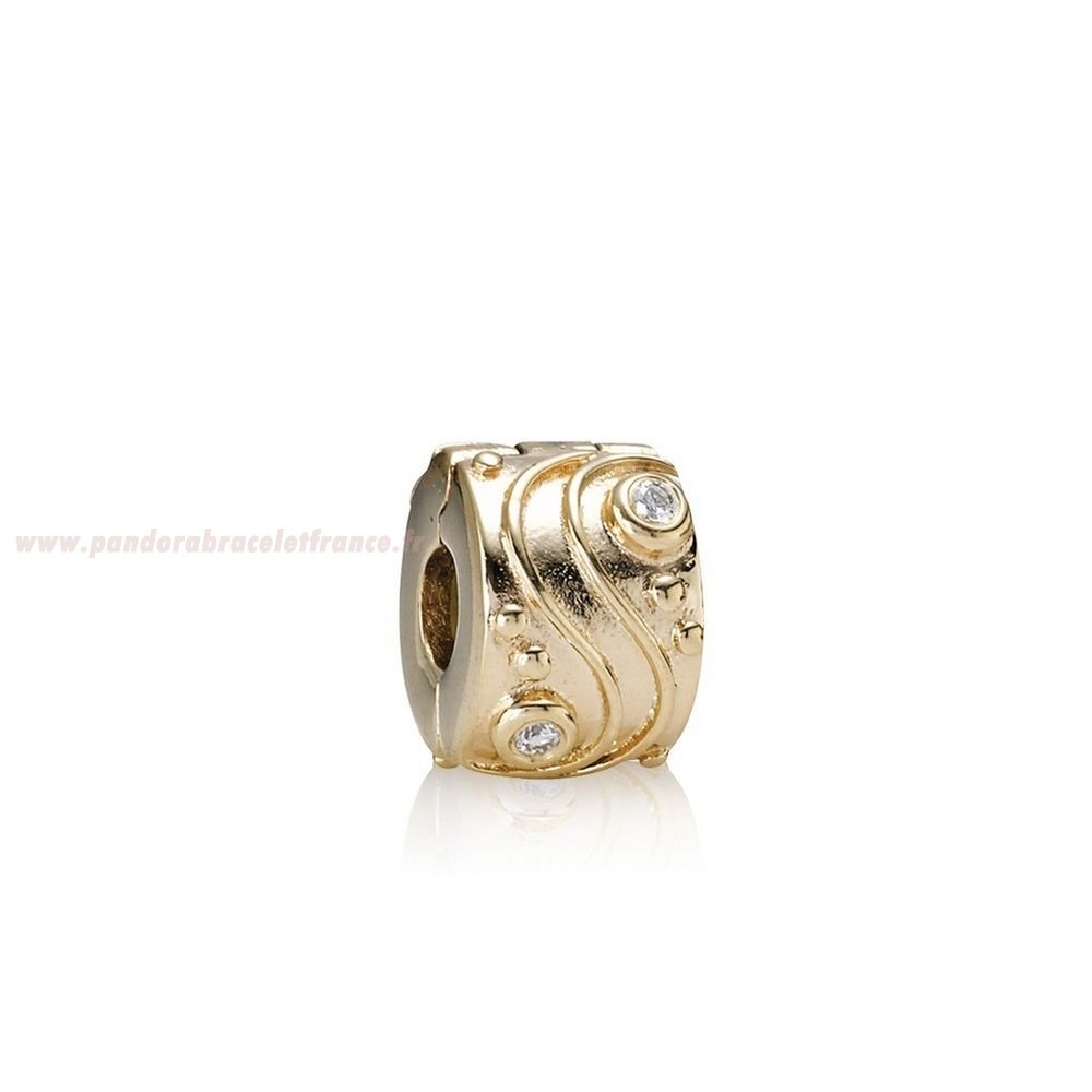 Revendeur Pandora Pandora Clips Breloques Babbling Brook Abstract Gold Clip Diamants Pas Cher