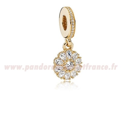 Revendeur Pandora Pandora Dangle Charms Agrementee Floral Dangle Charm 14K Or Clear Cz Pas Cher
